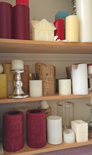 My closet full of candles - no more drowned wicks with the Candle Rescue Tool